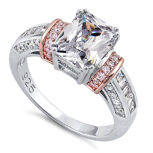 Sterling Silver Rose Gold Plated Two Tone Clear Emerald Cut CZ Ring