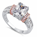 Sterling Silver Rose Gold Plated Two-Tone Clear Emerald Cut CZ Ring