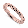 "Sterling Silver Rose Gold Plated ""You Are My Sunshine, My Only Sunshine"" Ring"