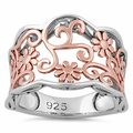 Sterling Silver Rose Gold Two Tone Flowers Ring