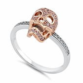 Sterling Silver Rose Gold Two Tone Skull Pink & Clear CZ Ring
