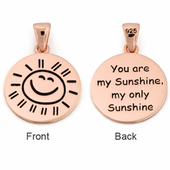 "Sterling Silver Rose Gold Plated ""You are my Sunshine my only Sunshine"" Pendant"