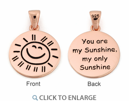"""Sterling Silver Rose Gold Plated """"You are my Sunshine my only Sunshine"""" Pendant"""