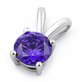 Sterling Silver Round Amethyst CZ Pendant