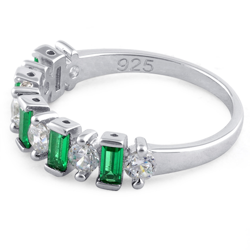 sterling silver baguette emerald cz ring