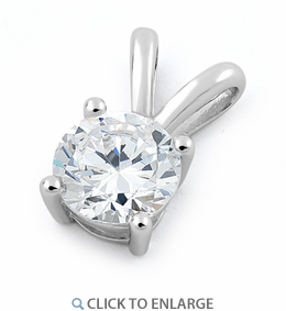 Sterling Silver Round Clear CZ Pendant