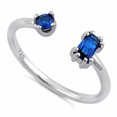 Sterling Silver Round & Emerald Cut Blue Spinel CZ Ring