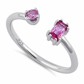 Sterling Silver Round & Emerald Cut Ruby CZ Ring