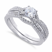 Sterling Silver Round Engagement Set Clear CZ Ring
