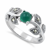 Sterling Silver Round Green Agate Leaves Marcasite Ring
