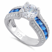 Sterling Silver Round & Princes Cut Clear & Blue Spinel CZ Ring