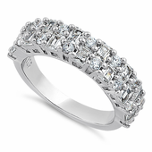 Sterling Silver Round & Princess Cut Pattern Clear CZ Ring