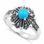 Sterling Silver Round Synthetic Turquoise Flower Marcasite Ring