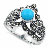 Sterling Silver Round Simulated Turquoise Tiara Marcasite Ring