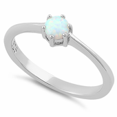 Sterling Silver Round White Lab Opal Ring