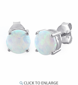Sterling Silver Round White Lab Opal Stud Earrings