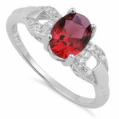 Sterling Silver Ruby Oval Cut CZ Ring