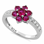 Sterling Silver Ruby Plumeria Flower CZ Ring