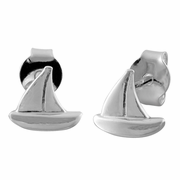 Sterling Silver Sail Boat Earrings