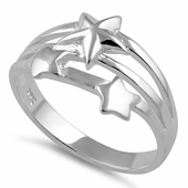 Sterling Silver Shooting Stars Ring