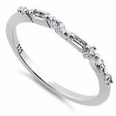 Sterling Silver Simple Cluster Clear CZ Ring