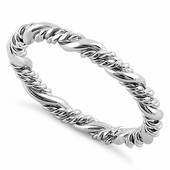Sterling Silver Simple Rope Twist Ring