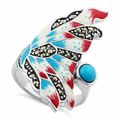 Sterling Silver Simulated Turquoise Enamel Angel Fish Design Marcasite Ring