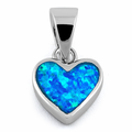 Sterling Silver Small Heart Blue Lab Opal Pendant
