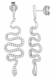 Sterling Silver Snake CZ Dangle Earrings