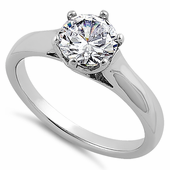 Sterling Silver Solitaire Round Clear CZ Engagement Ring
