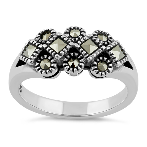 Silver Square and Round Marcasite Ring