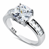 Sterling Silver Square Cut Clear CZ Engagement Ring