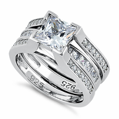 Sterling Silver Square CZ Set Ring