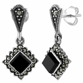 Sterling Silver Square Drop Black Onyx Marcasite Earrings
