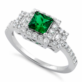 Sterling Silver Square Emerald CZ Cushion Ring