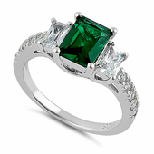 Sterling Silver Rectangular Emerald CZ Ring