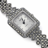 Sterling Silver Square Marcasite Watch