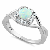 Sterling Silver Square White Lab Opal CZ Ring