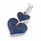 Sterling Silver Stack Hearts Blue Sapphire CZ Pendant