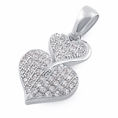 Sterling Silver Stack Hearts Clear CZ Pendant
