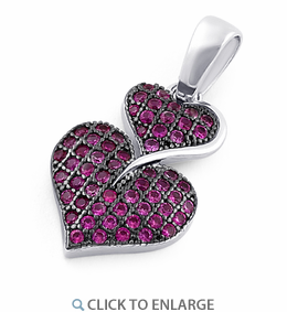 Sterling Silver Stack Hearts Ruby CZ Pendant