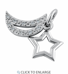 Sterling Silver Star and Moon CZ Pendant