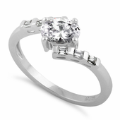 Sterling Silver Stuck In Between Oval Clear CZ Ring