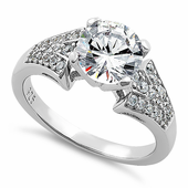 Sterling Silver Stylish Round Cut Clear CZ Ring