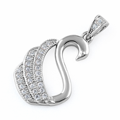 Sterling Silver Swan Clear CZ Pendant