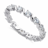 Sterling Silver Swirl Clear Eternity CZ Ring