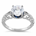Sterling Silver Swirl Design Clear and Blue CZ Ring