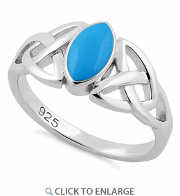 Sterling Silver Simulated Turquoise Marquise Celtic Ring