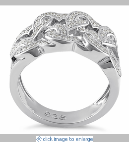 Sterling Silver Tangled Hearts Pave CZ Ring. Tangled Wedding Ring. Home Design Ideas