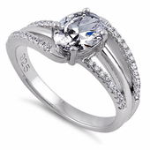 Sterling Silver Tilted Oval Clear CZ Ring